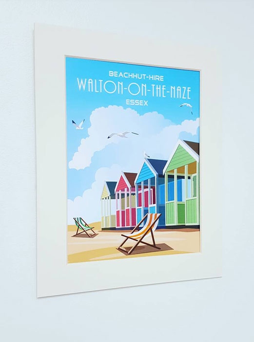 Mounted Beach Hut Print